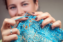 Close-up woman knitting royalty free stock images