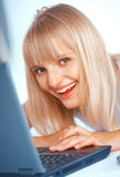 Close-up of a woman with laptop Royalty Free Stock Photo