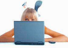 Close-up of a woman with laptop Stock Photography