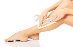 Close up of woman legs waxed Stock Photos