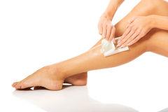Close up of woman legs waxed Stock Images