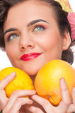Close up woman with lemon and grapefruit Stock Images