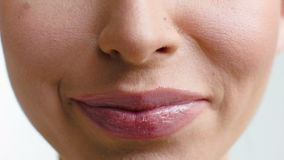 Close Up on Woman Lips She Smiling Stock Images