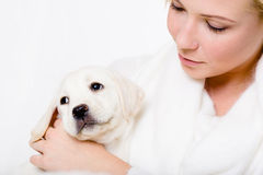 Close up of woman looking at the white puppy stock photo
