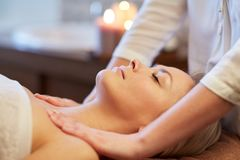 Close up of woman lying and having massage in spa Royalty Free Stock Photo