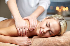 Close up of woman lying and having massage in spa Stock Photos
