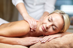 Close up of woman lying and having massage in spa Stock Photography