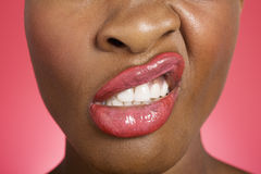 Close up of woman making a face Royalty Free Stock Photography