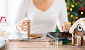 Close up of woman making gingerbread houses Royalty Free Stock Image