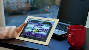 Close up woman playing slot machine game stock footage
