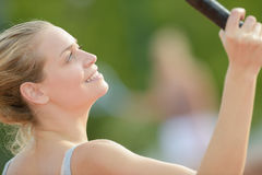Close up woman playing tennis Royalty Free Stock Images