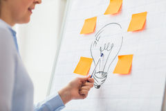 Close up of woman pointing to light bulb drawing Stock Photography
