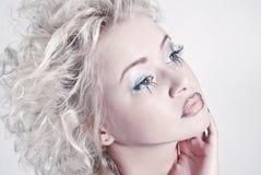 Close up woman portrait with original make up Stock Photo
