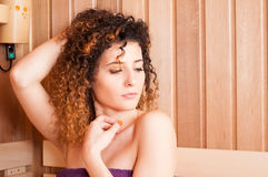 Close-up of woman portrait sitting in salt saun Stock Images