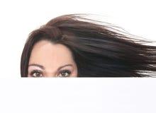 Close up woman portrait woman white card Stock Image