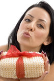 Close up of woman posing with scrubber Royalty Free Stock Photography