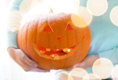 Close up of woman with pumpkins at home Royalty Free Stock Photography