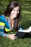 Close up on a Woman Reading a Book Stock Photo