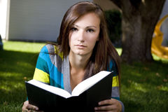Close up on a Woman Reading a Book Stock Photography