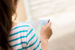 Close up of woman reading map Royalty Free Stock Photos