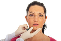 Close up of woman receiving botox injection Stock Photography