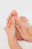 Close-up of a woman receiving foot massage Royalty Free Stock Photo