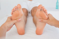 Close-up of a woman receiving foot massage Stock Photography