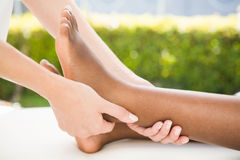 Close-up of a woman receiving foot massage Stock Images