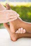 Close-up of a woman receiving foot massage Royalty Free Stock Photography