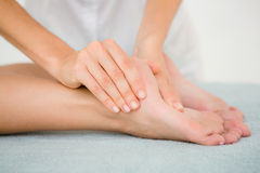 Close-up of a woman receiving foot massage Royalty Free Stock Photos