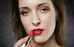 Close up of woman with red lipstick Royalty Free Stock Photo