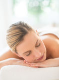 Close-Up Of Woman Resting At Health Spa Stock Photo