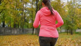 Close up of woman running through an autumn park at sunset. Slow motion stock video footage