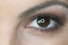 Close up of a woman's eye. Extreme close up of a woman's brown eye Royalty Free Stock Images