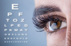 Close-up of woman`s eye. macro beautiful female eye.Alphabetical eye test royalty free stock photos