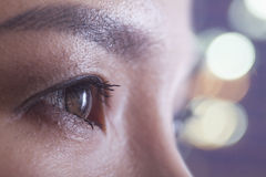 Close up of woman's eye, side view Royalty Free Stock Photos