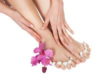 Pedicure Treatment For Woman's Feet. Close-up Of Woman's Feet Getting Pedicure Treatment Stock Photography