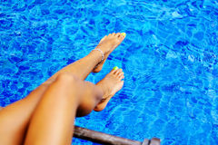 Close-up of a woman's foot in the water Royalty Free Stock Photography