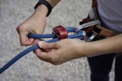 Close up of Woman's hand in belaying activities Stock Photos