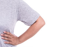 Close up woman's hand holding her elbow isolated on white. Elbow Stock Photo