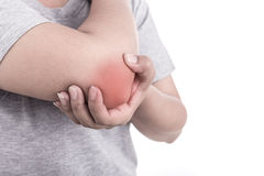 Close up woman's hand holding her elbow isolated on white. Elbow Stock Photos