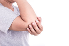 Close up woman's hand holding her elbow isolated on white. Elbow. Close up woman's hand holding her elbow isolated on white background. Elbow pain concept Stock Photography
