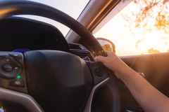 Close-up Of Woman's Hand Holding Steering Wheel Stock Photos