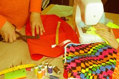 Close-up of woman`s hand stitching quilting. Tailor Woman workin stock image