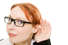 Close up of woman's hand to his ear . Royalty Free Stock Photo