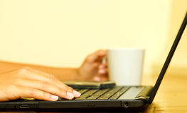 Close-up of a woman's hand working on a computer.jpg Royalty Free Stock Photography
