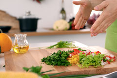 Close up of woman`s hands cooking in the kitchen. Housewife slicing fresh salad. Royalty Free Stock Photos