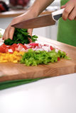 Close up of woman`s hands cooking in the kitchen. Housewife slicing fresh salad. Vegetarian and healthily cooking. Concept Royalty Free Stock Images