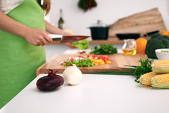 Close up of woman`s hands cooking in the kitchen. Housewife slicing fresh salad. Vegetarian and healthily cooking. Concept Stock Image