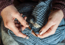 Close up of woman's hands crocheting Royalty Free Stock Image